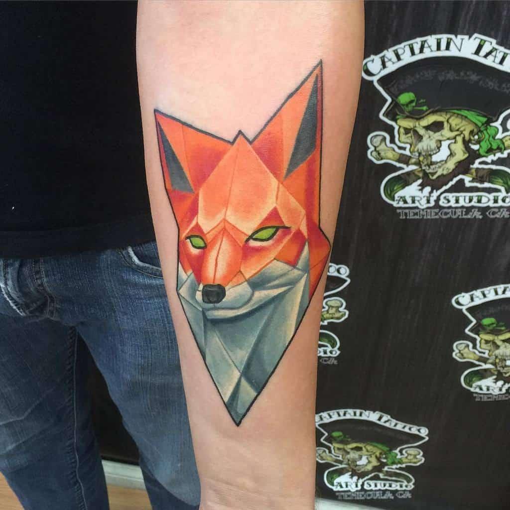 Abstract Geometric Fox Tattoo caleblynchtattoos