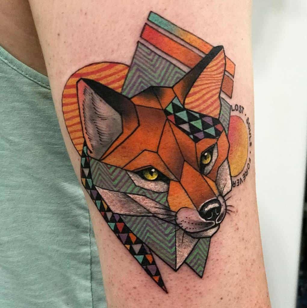 Abstract Geometric Fox Tattoo chong.tattoo