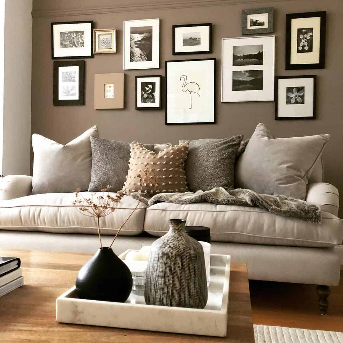 Accent Wall Brown Living Room Ideas -beaninteriors