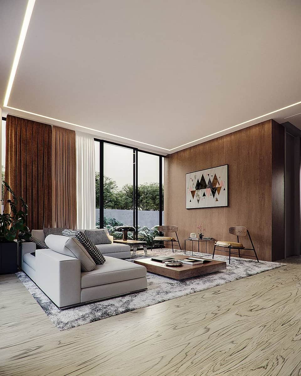 Accent Wall Brown Living Room Ideas -renderlopes
