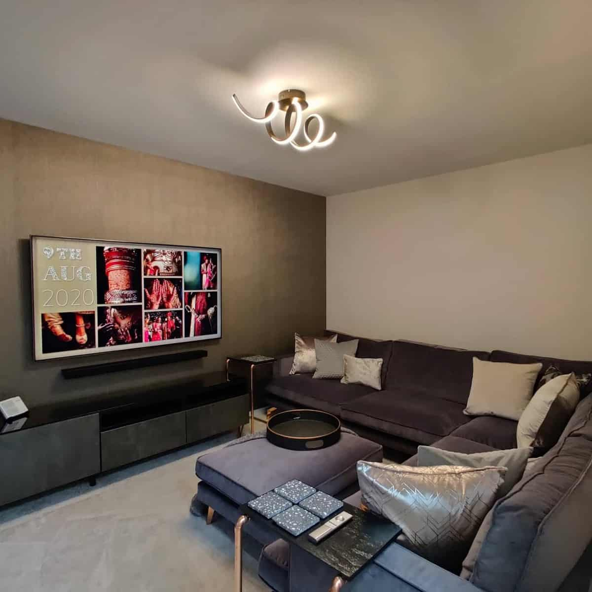 Accent Wall Brown Living Room Ideas -thedipshome