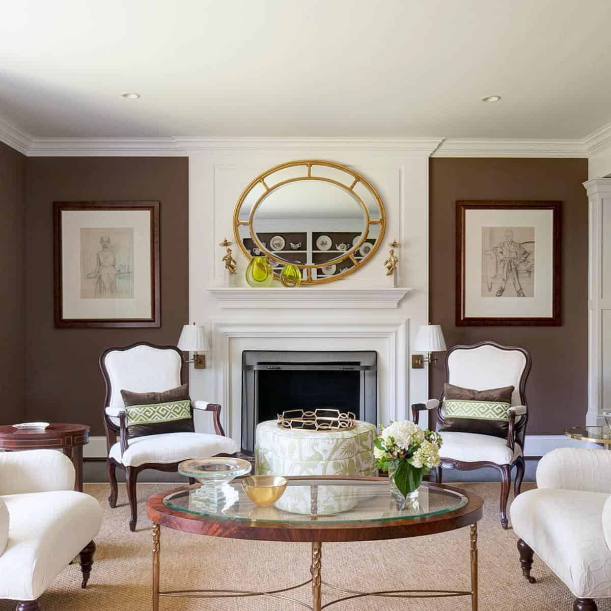Accent Wall Brown Living Room Ideas -whitehorsedesignfirm