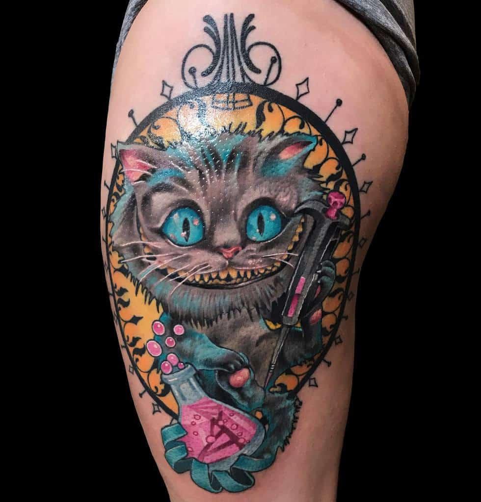 Alice in Wonderland Cheshire Cat Tattoo perdibirdtattoos
