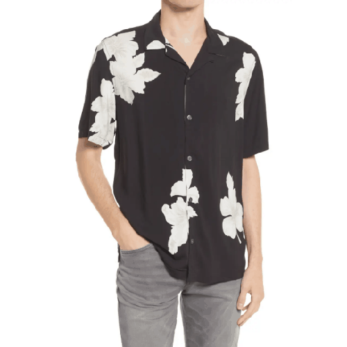 AllSaints Bouquet Relaxed Fit Floral Short Sleeve Button Up