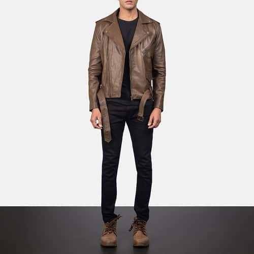 Allaric Alley Mocha Leather Biker Jacket