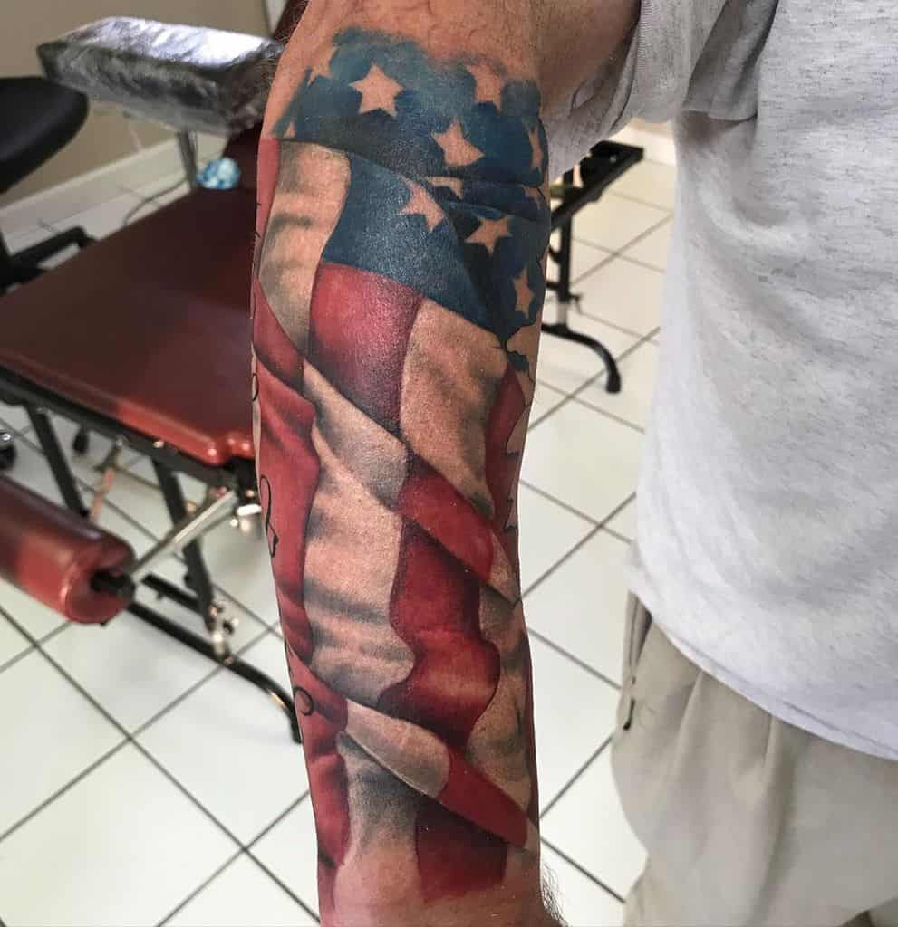 American Colored Flag Sleeve Tattoo shawndeatontattoos