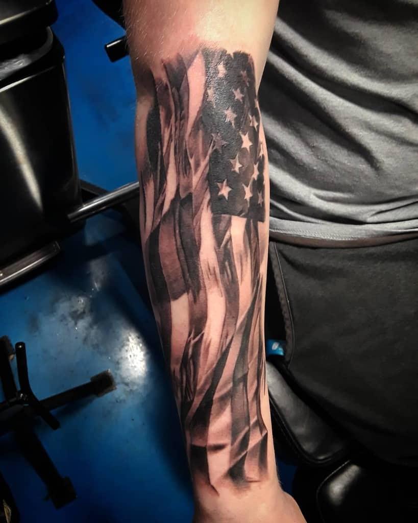 American Flag Forearm Sleeve Tattoo high_noon