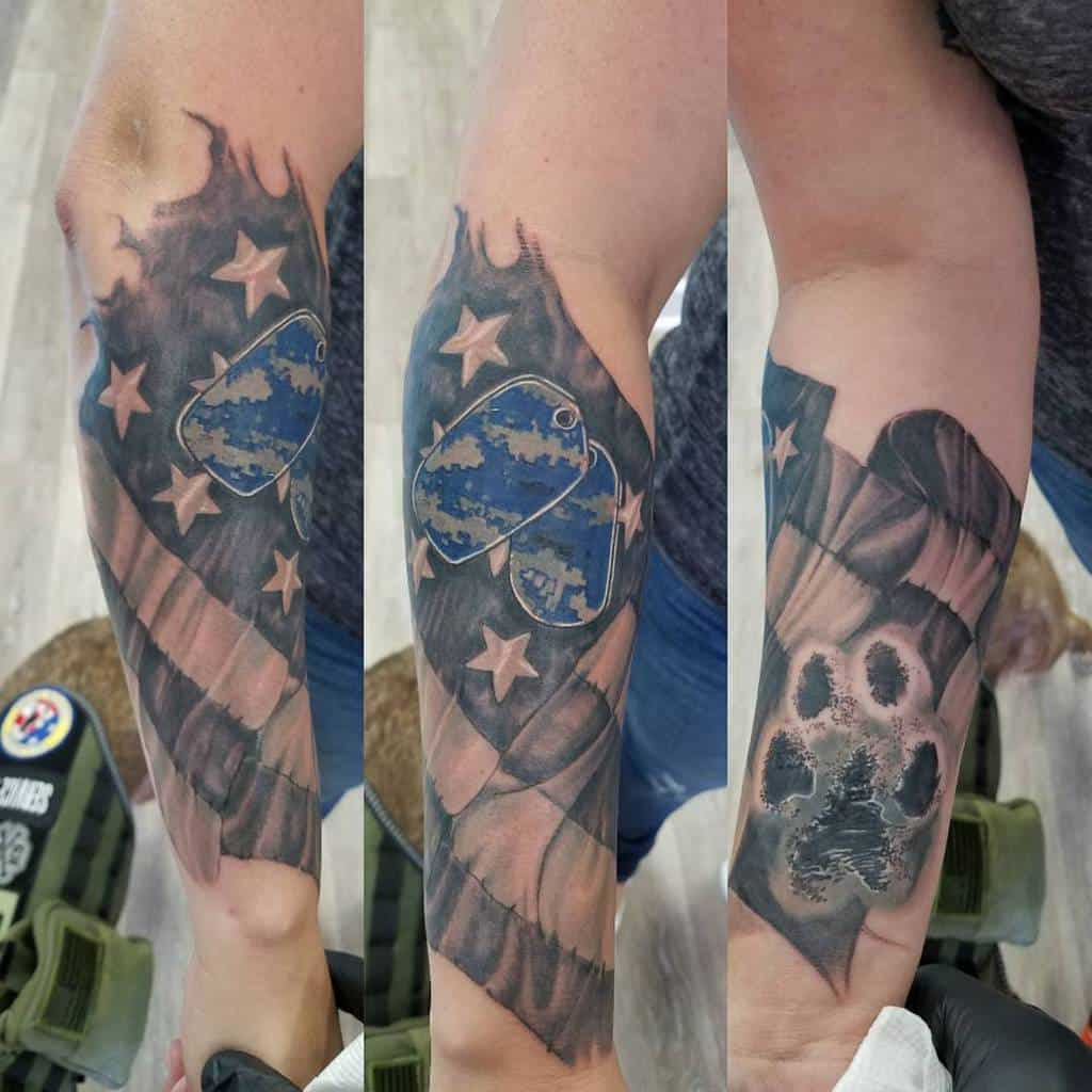 American Military Flag Sleeve Tattoo tattoosbybsad