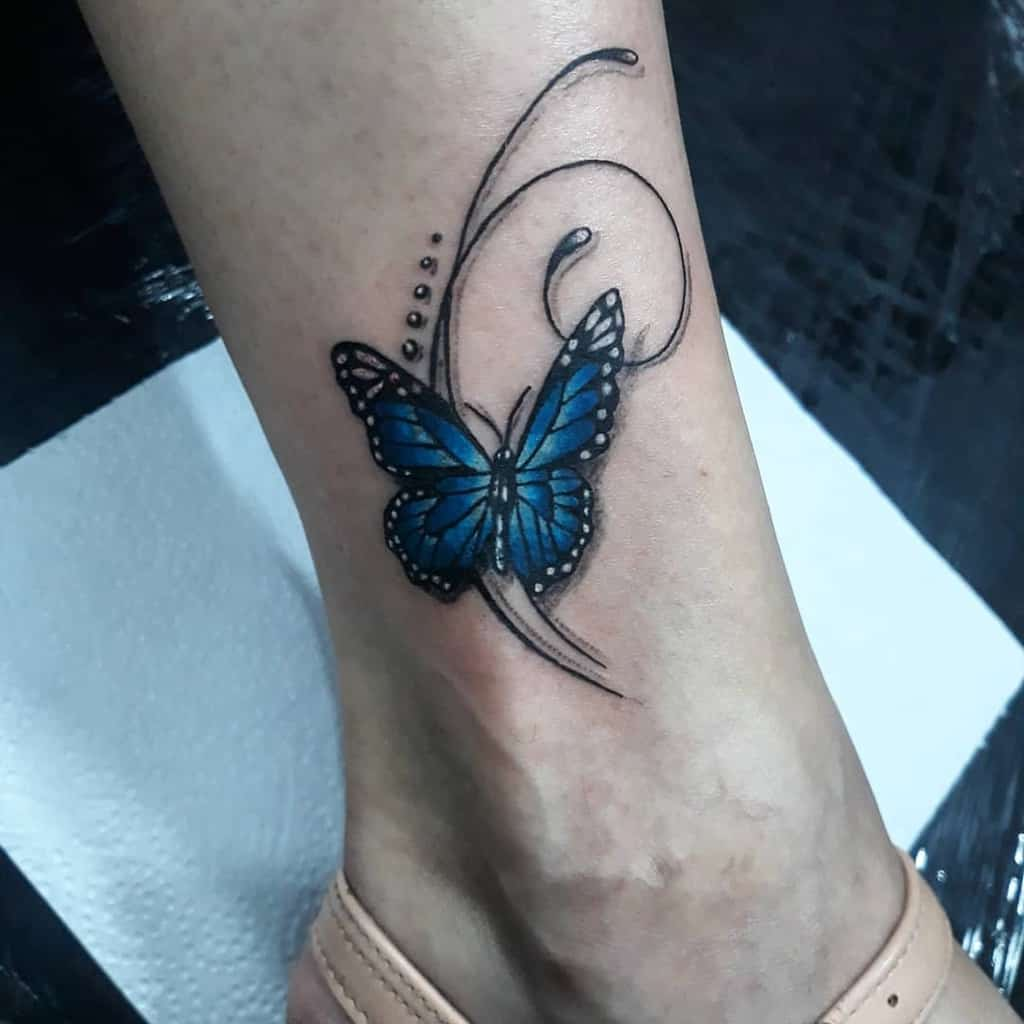 Ankle Blue Butterfly Tattoos estudio_cleitontattoo