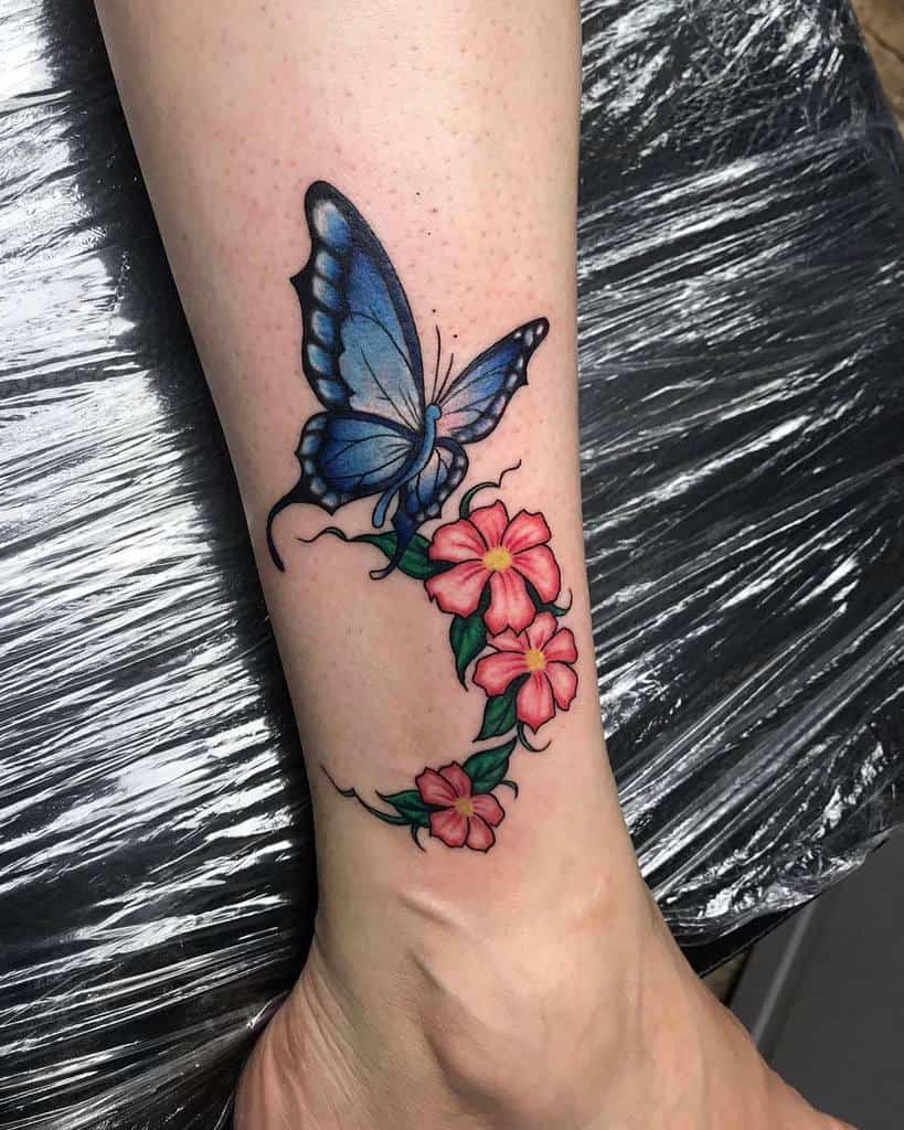 Ankle Blue Butterfly Tattoos fancsy0507