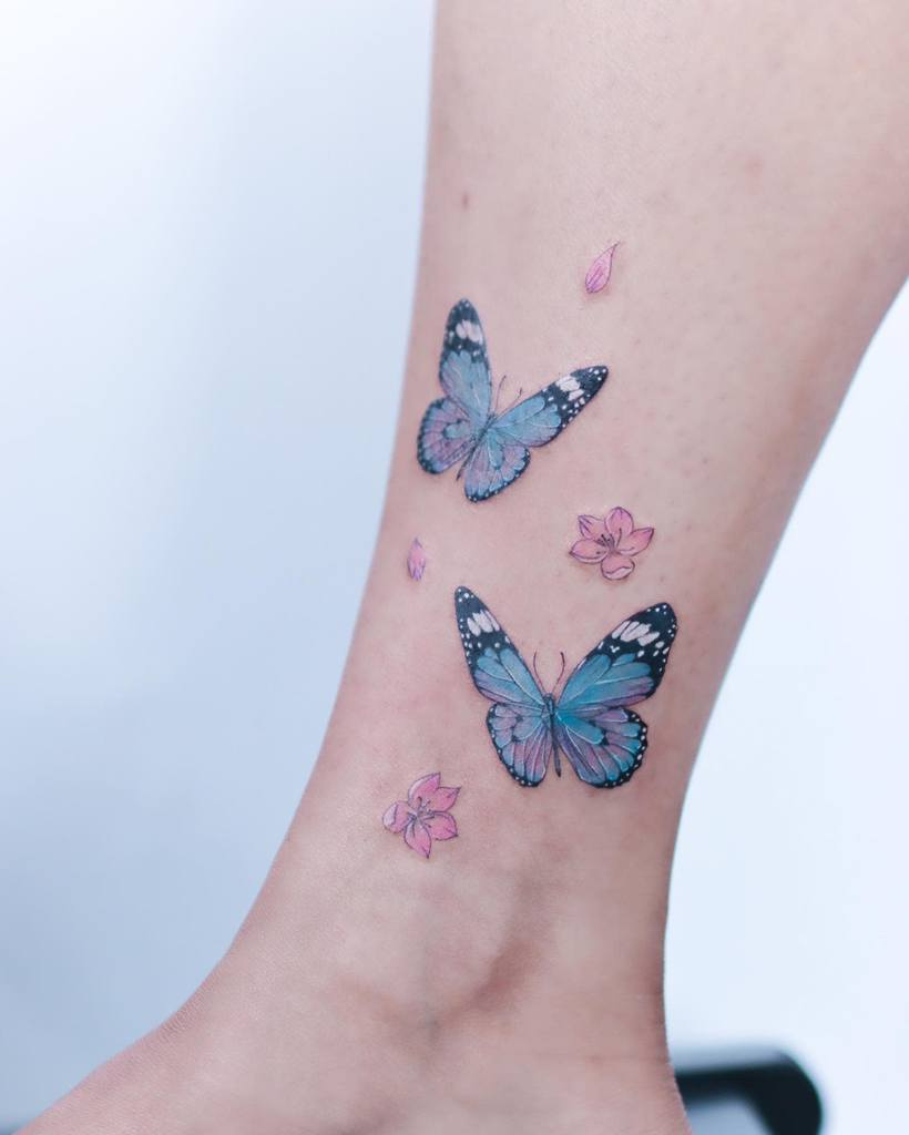 Ankle Blue Butterfly Tattoos firstjing