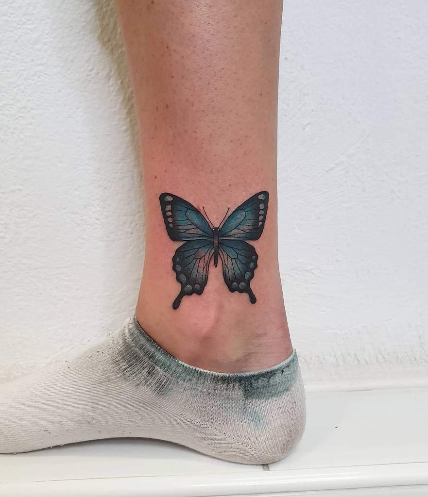 Ankle Blue Butterfly Tattoos kellybrowntattoos