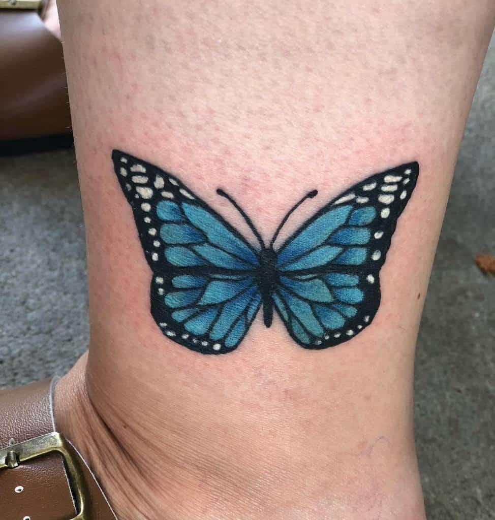 Ankle Blue Butterfly Tattoos mommalosinit