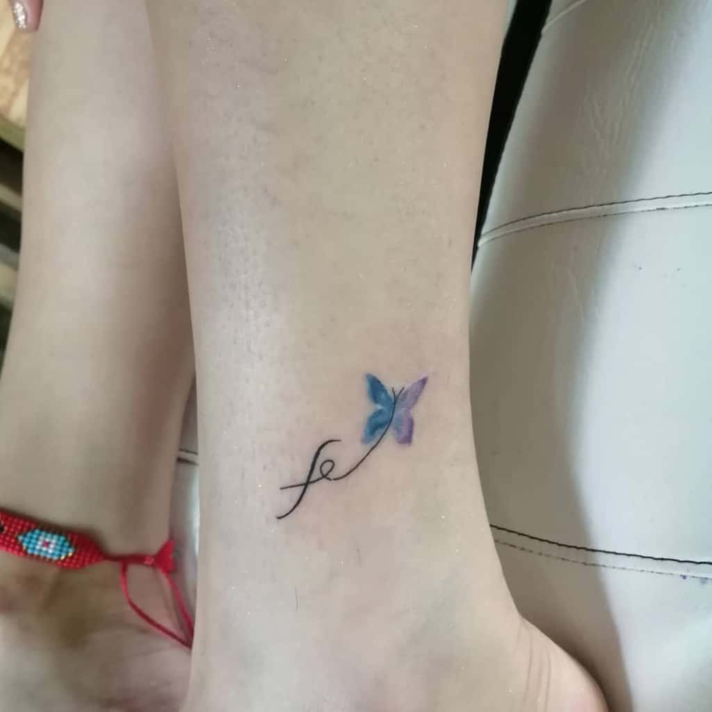Ankle Blue Butterfly Tattoos nortattoos