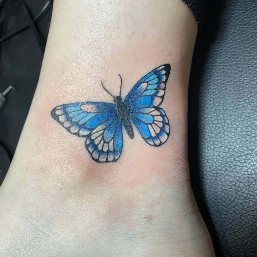 Ankle Blue Butterfly Tattoos squishycrabb