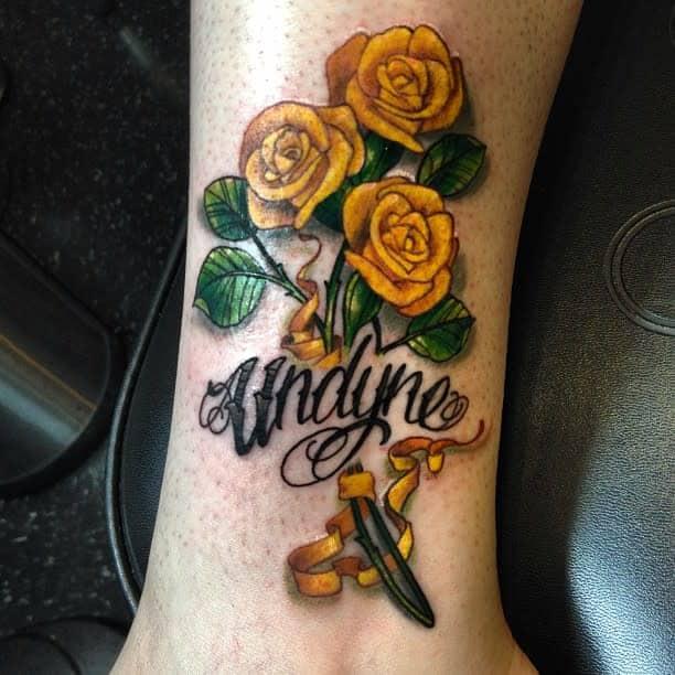 Ankle Yellow Rose Tattoo -markfreitasart