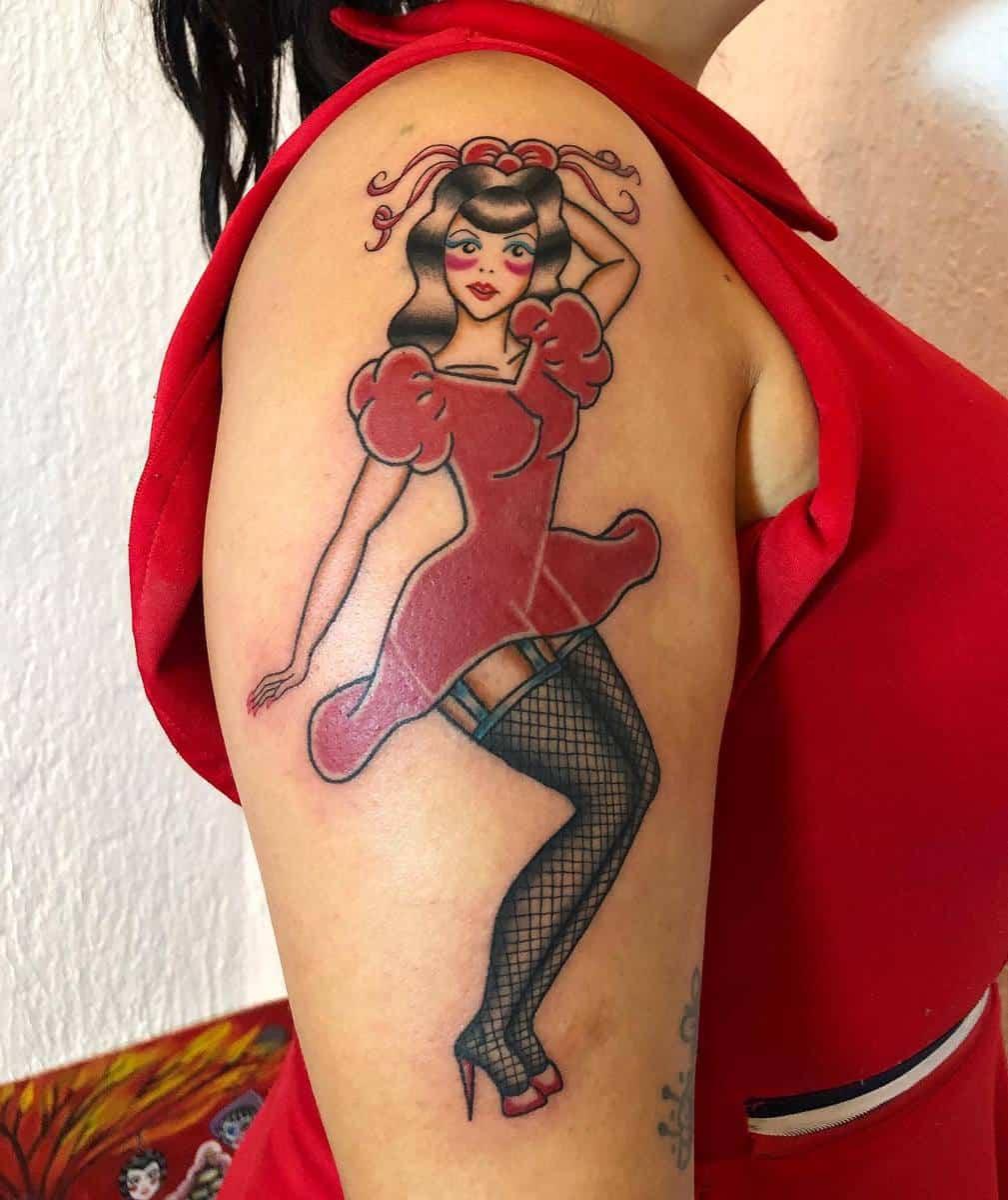 Arm Pin Up Girl Tattoo -lakatrinapinupballerina