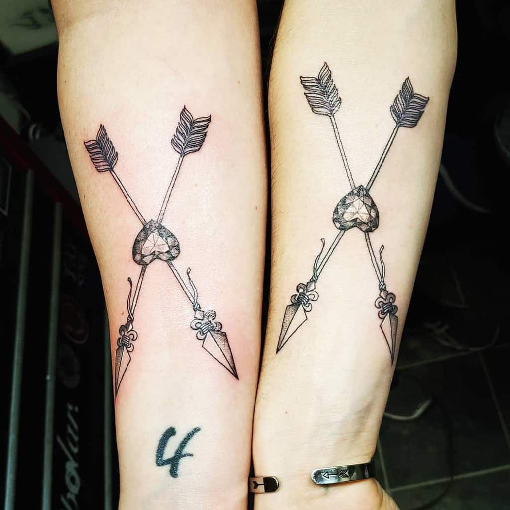 Arrow Tattoo Matching Forearm black Gray Jewell