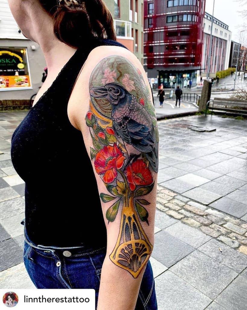 Art Nouveau Arm Sleeve Tattoo mythostattoo