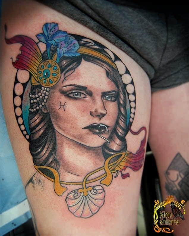 Art Nouveau Leg Tattoo Skinculturetattoo