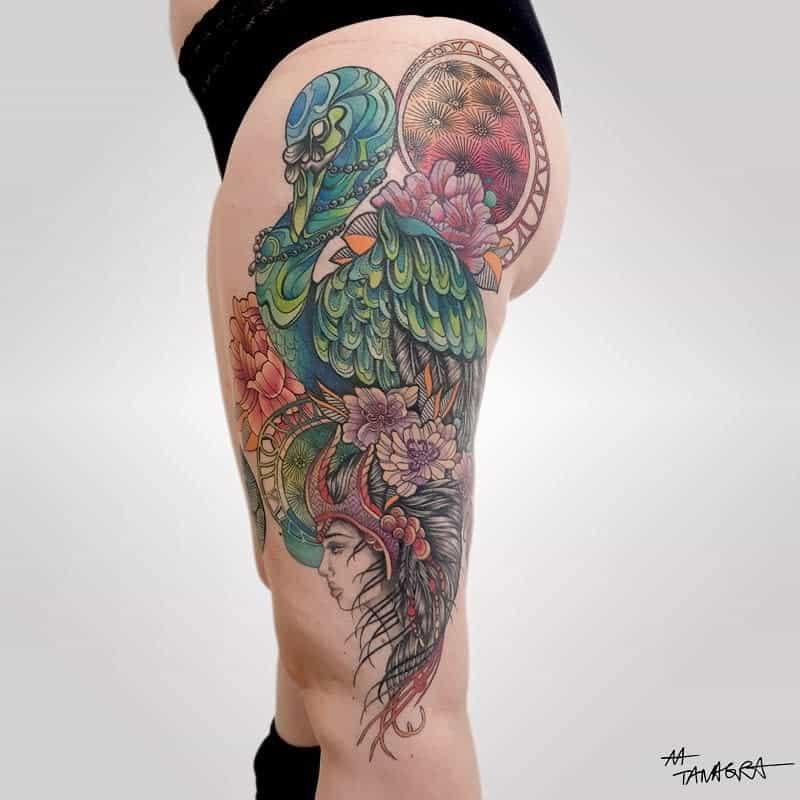 Art Nouveau Leg Tattoo Tanagralmt 2