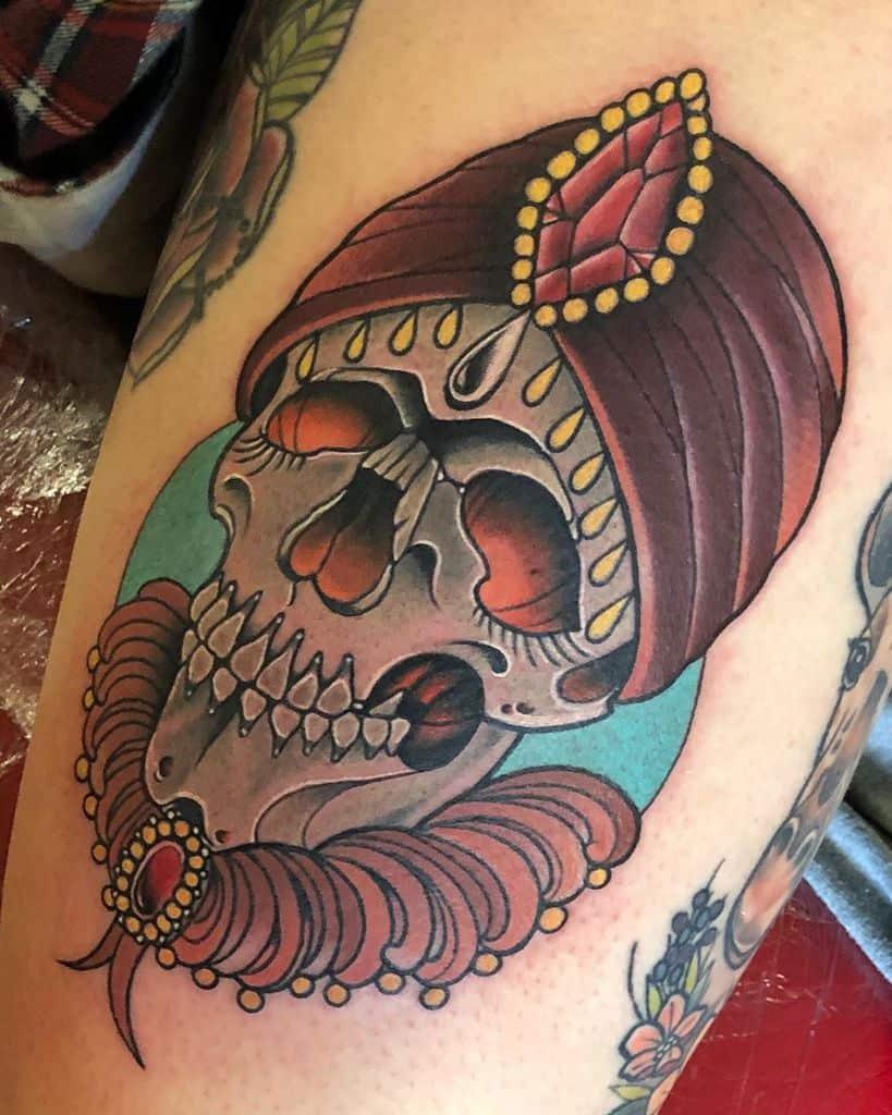 Art Nouveau Skull Tattoo R Leone Tattoo