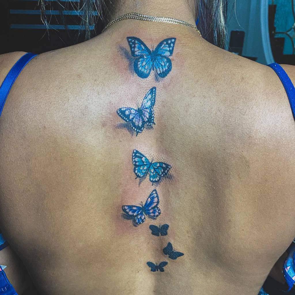 Back Blue Butterfly Tattoos angel_ctatt