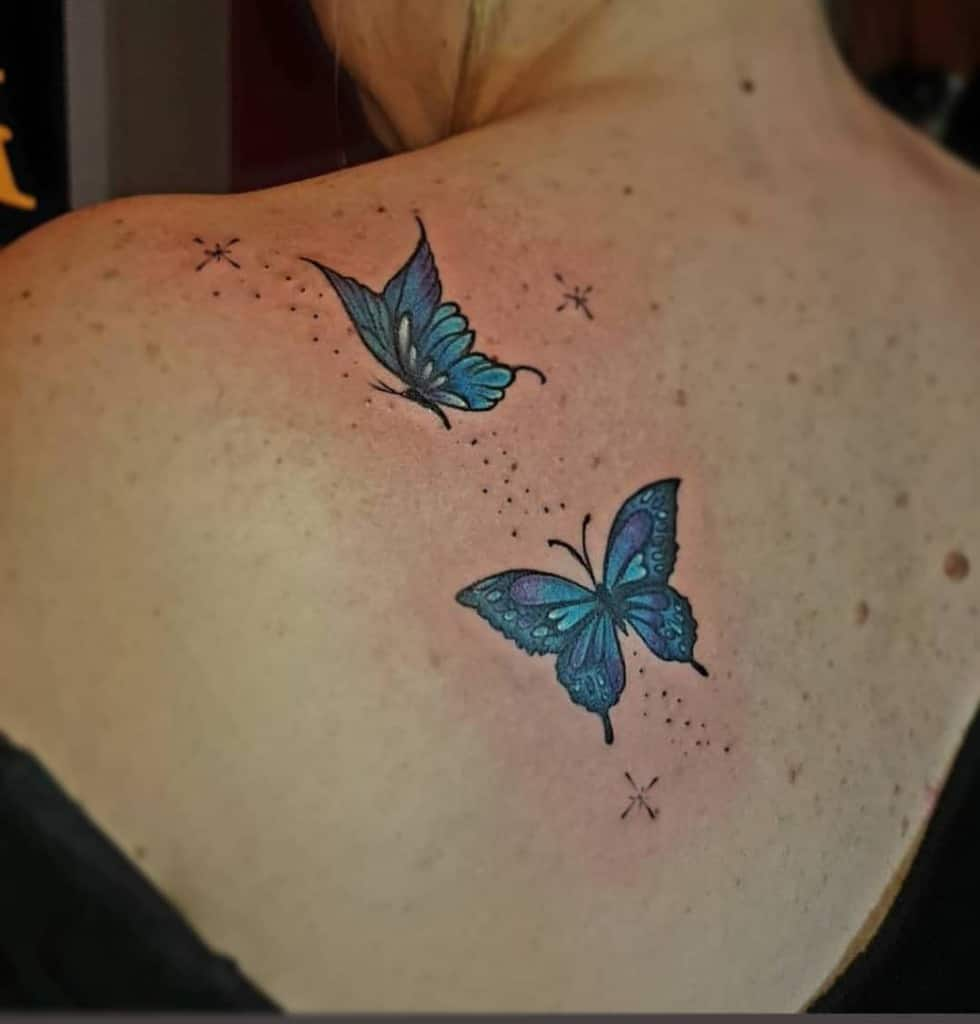 Back Blue Butterfly Tattoos griseldatatuadora
