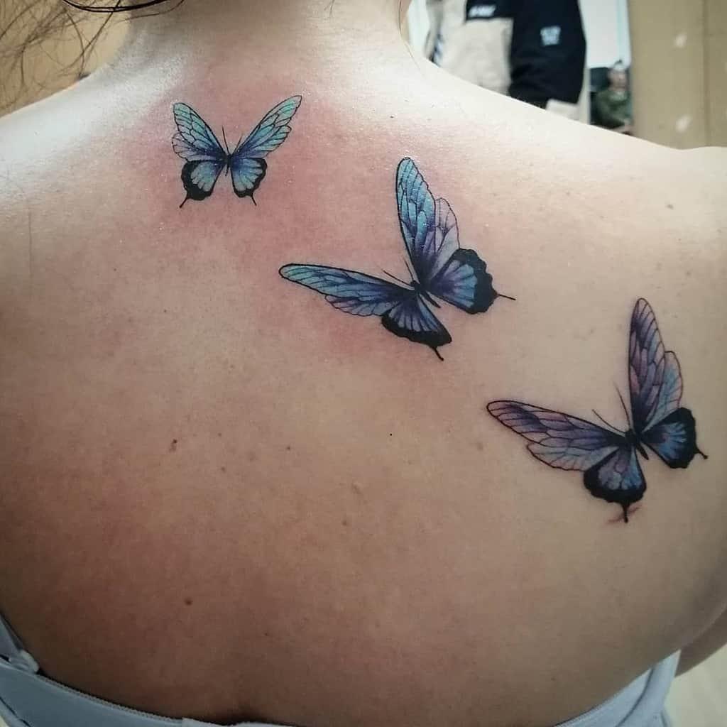 Back Blue Butterfly Tattoos hellderick