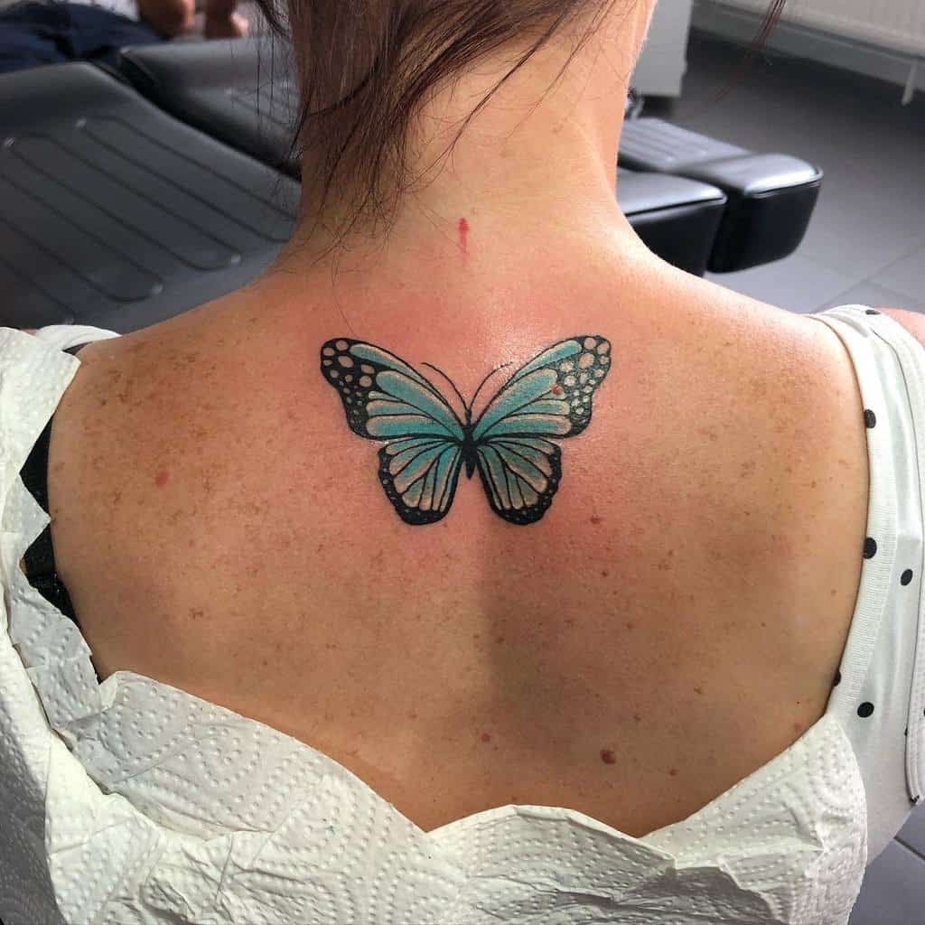 Back Blue Butterfly Tattoos no_limit.tattoo