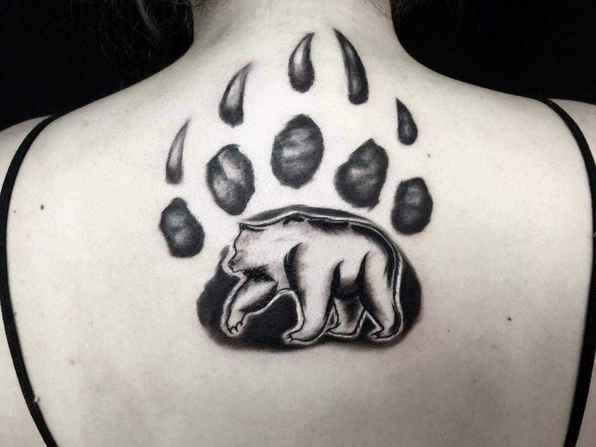 Bear Paw Back Tattoo scarffinkorporated