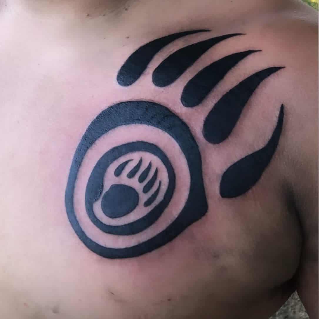 Bear Paw Chest Tattoo e.o.s_art