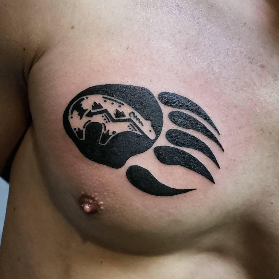 Bear Paw Chest Tattoo tattoosbymarilyn