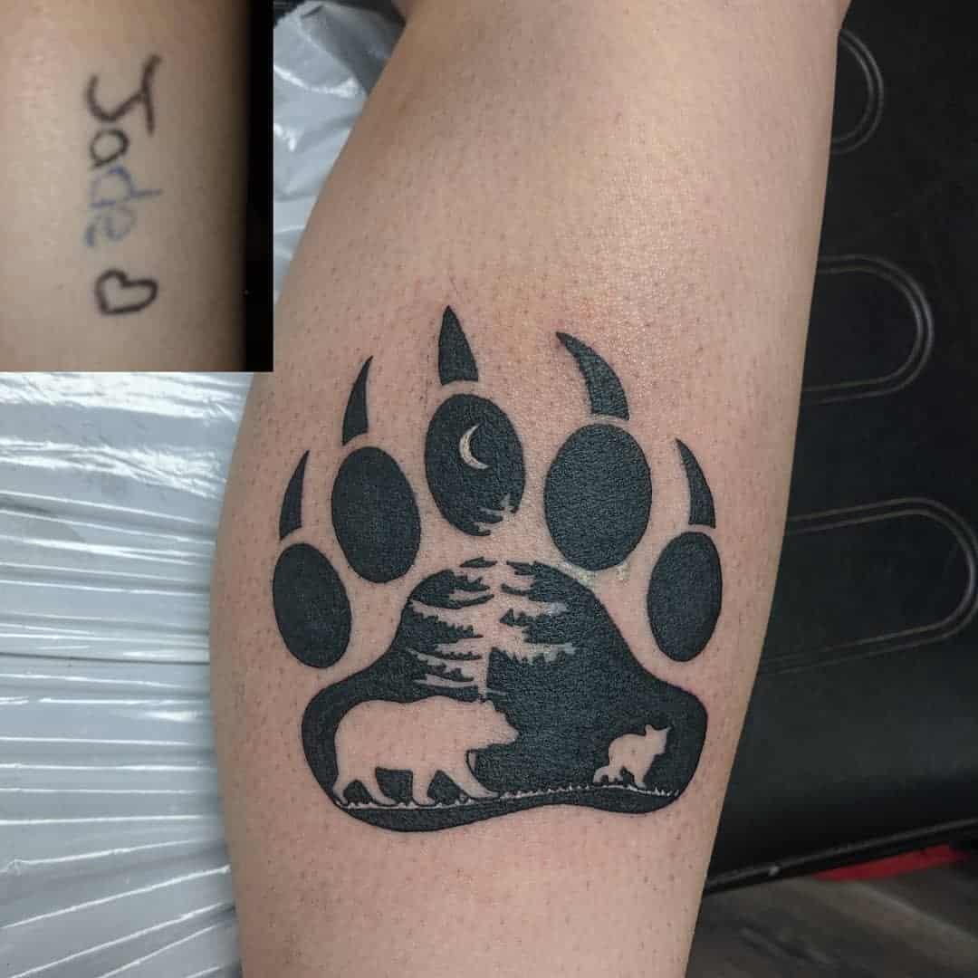 Bear Paw Leg Tattoo megan_paige_tattoos