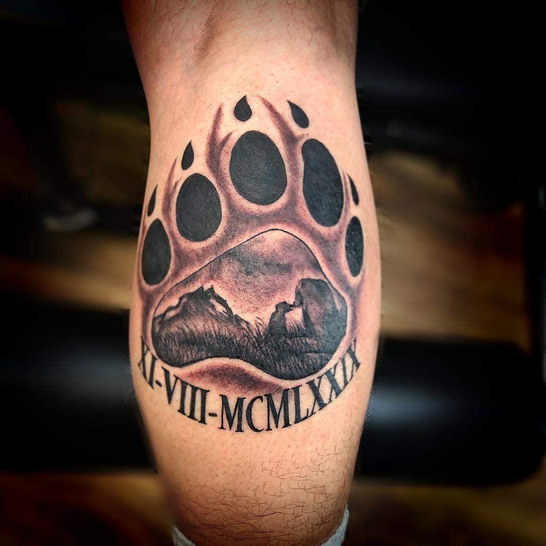 Bear Paw Leg Tattoo victum140