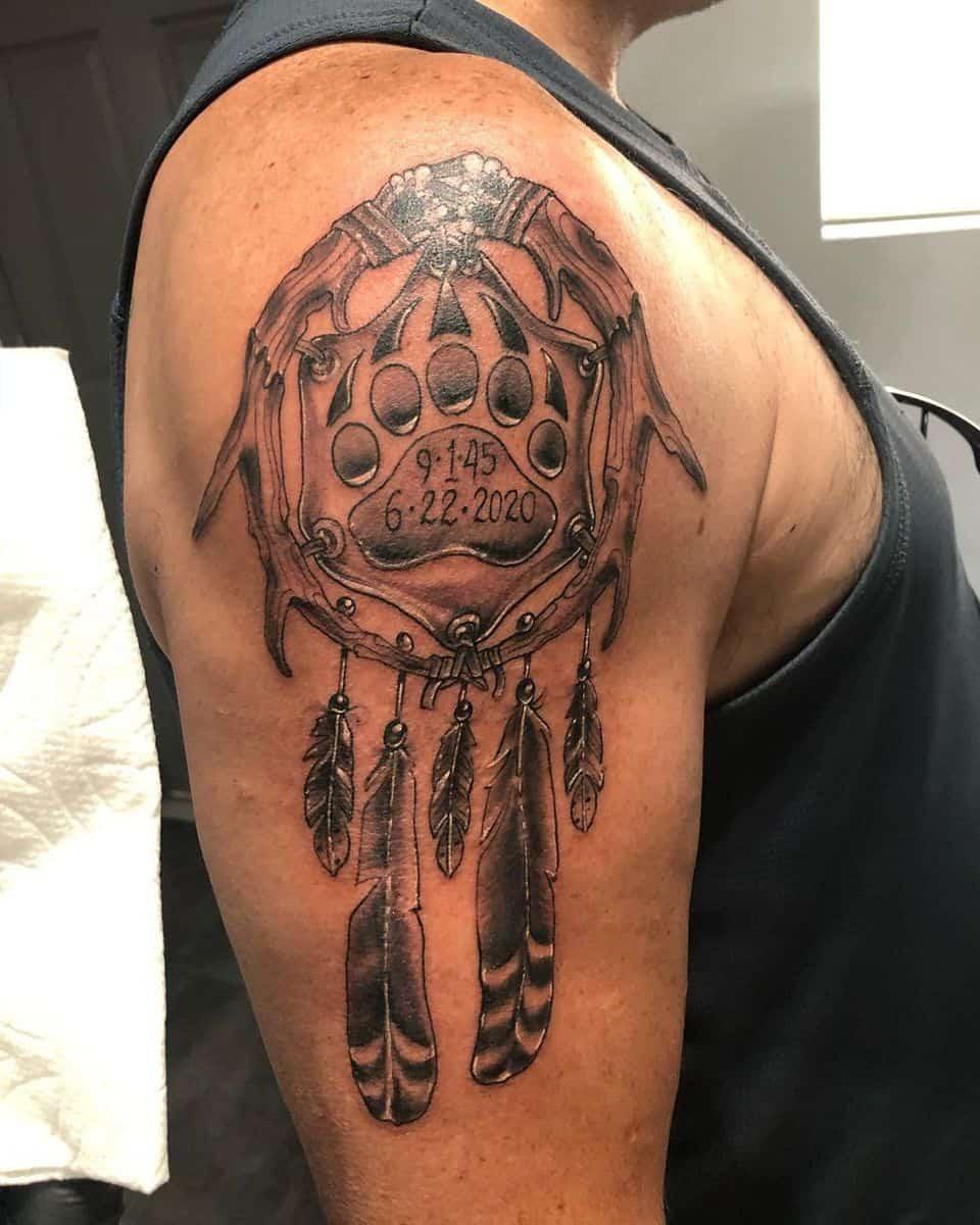 Bear Paw Shoulder Tattoo d2tattooart
