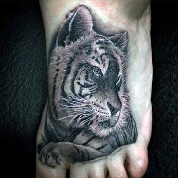 Bengal Tiger Profile Tattoo On Foot For Guys