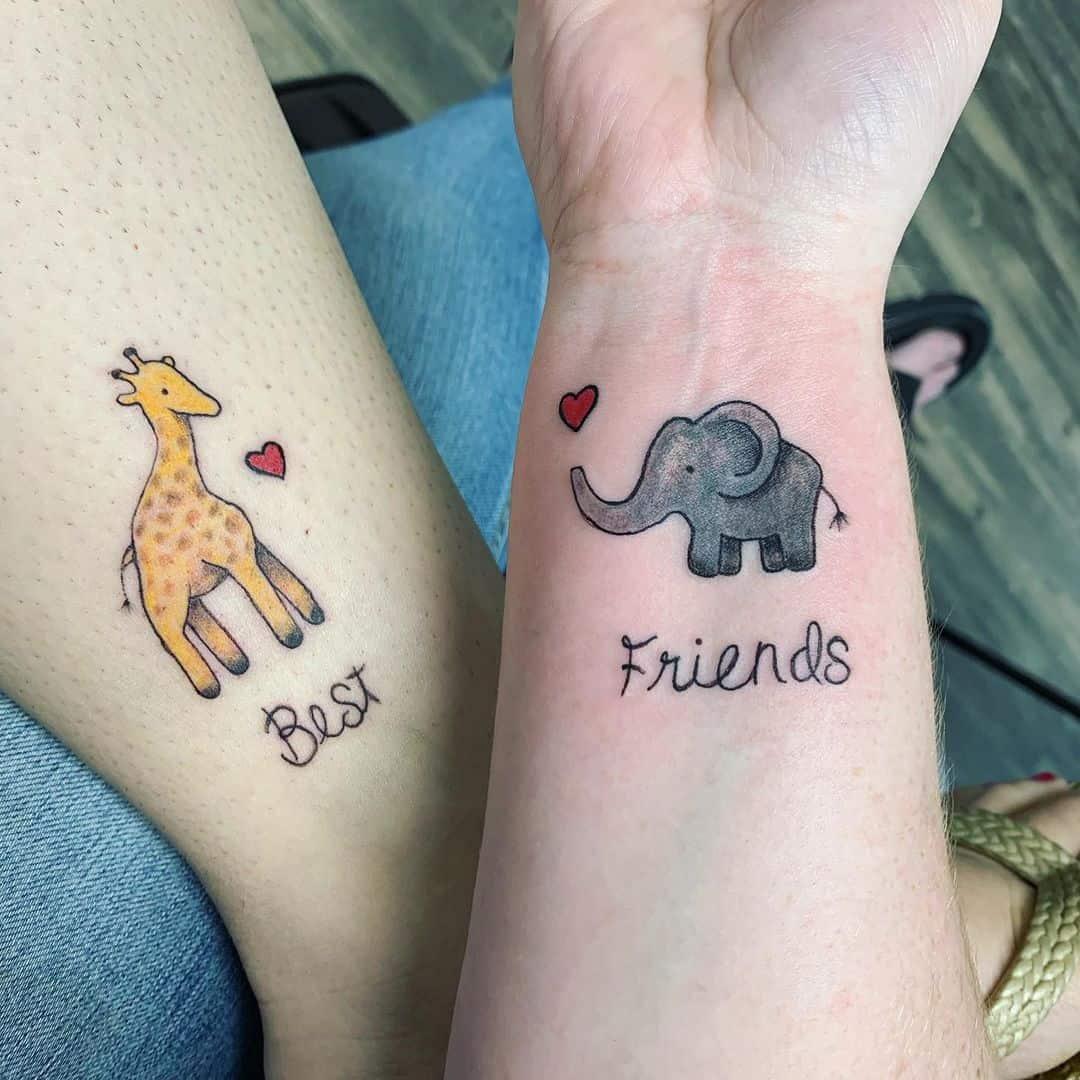 Bestfriend Matching Tattoos petalsandpaintattooparlor