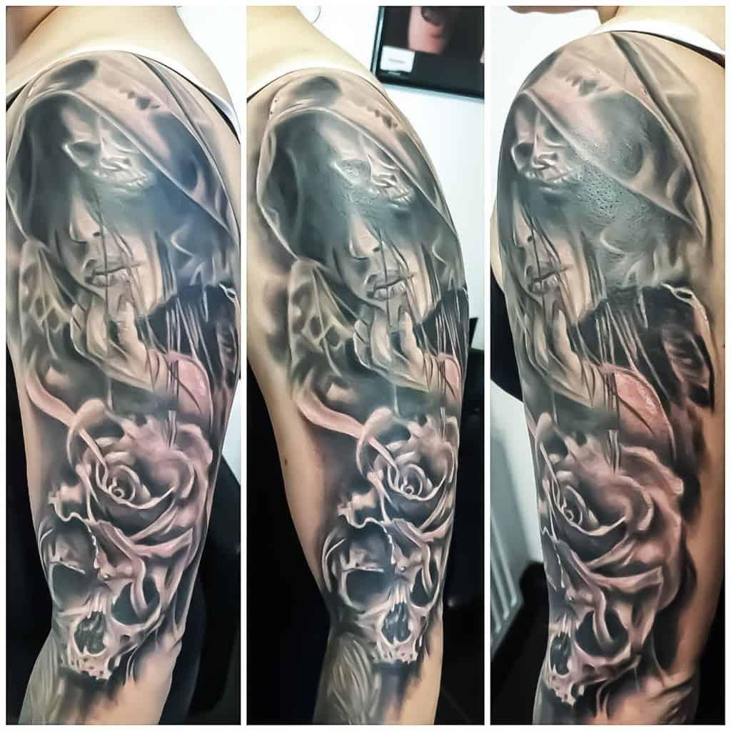 Black 34 sleeve tattoo selvanegratattoo