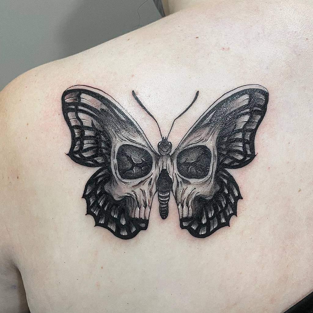 Black Butterfly Back Tattoo j0rdan.tattoo
