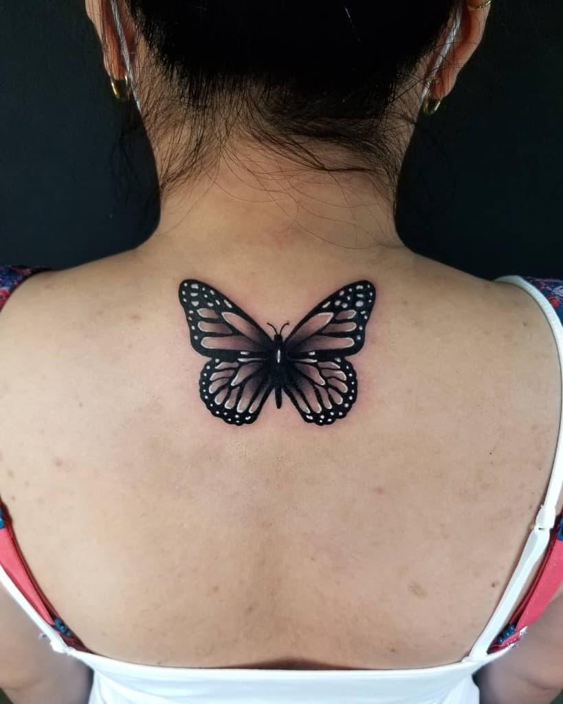 Black Butterfly Back Tattoo sabrinamtattoo