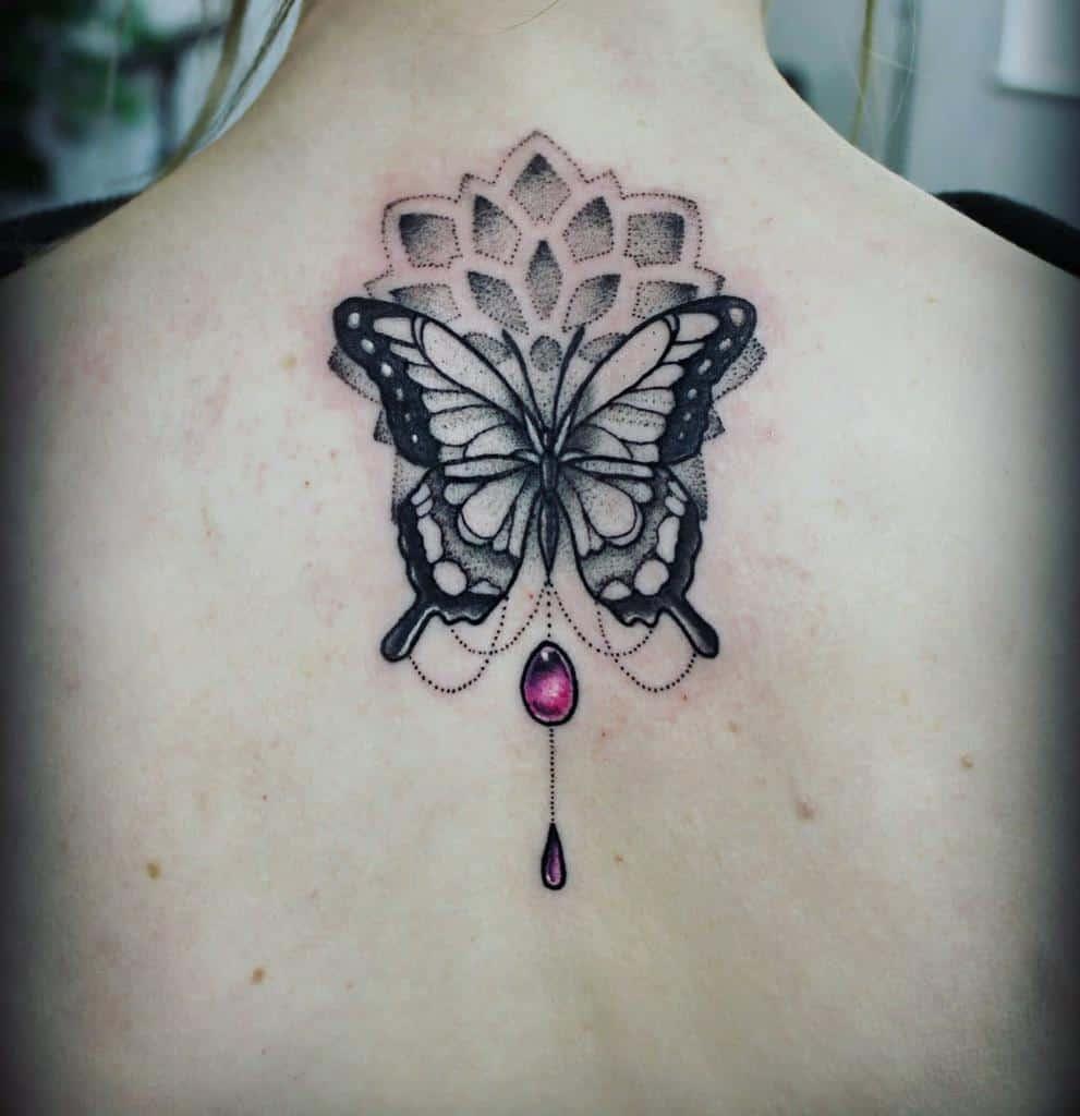Black Butterfly Back Tattoo tarren_malham_artist