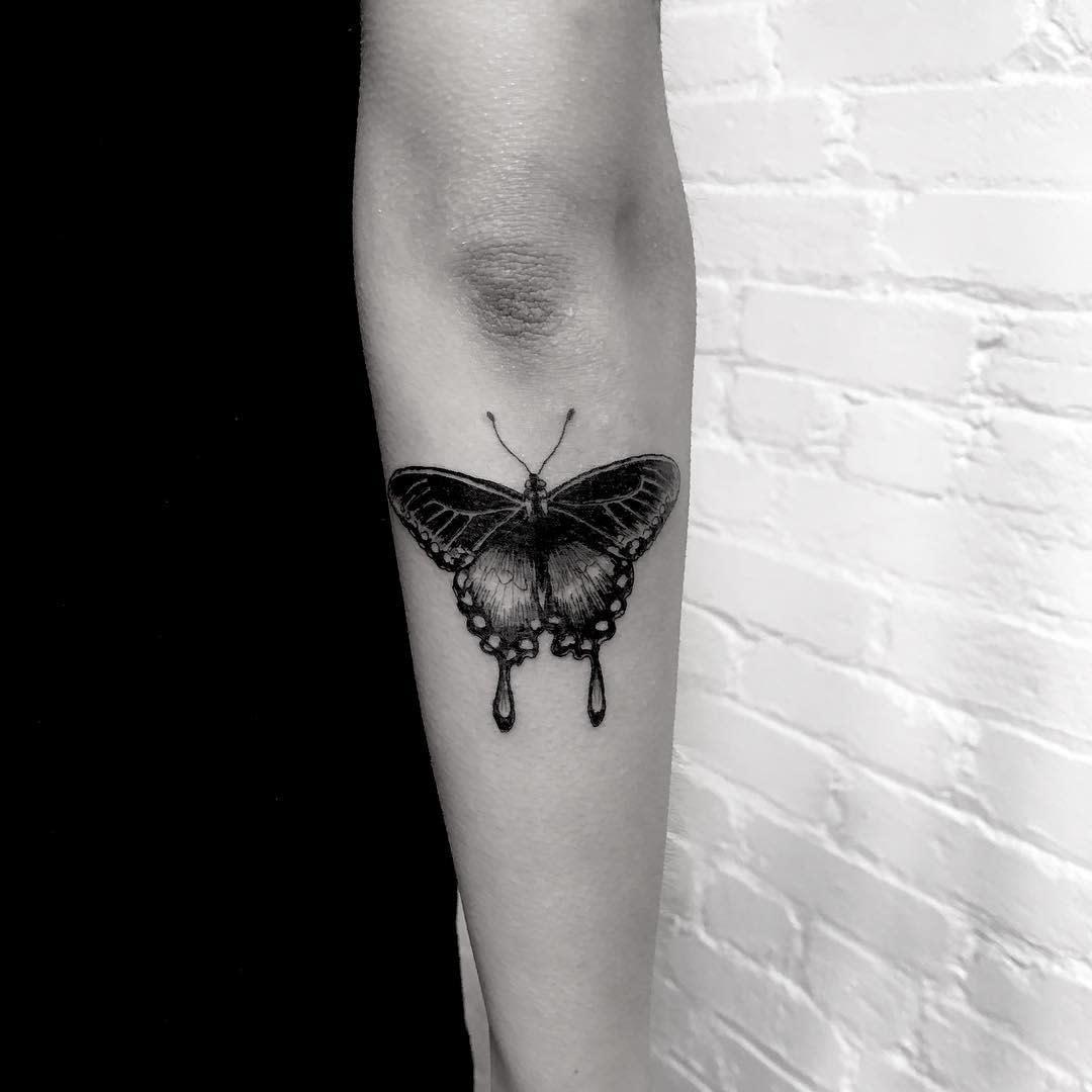 Black Butterfly Forearm Tattoo briannachtwn