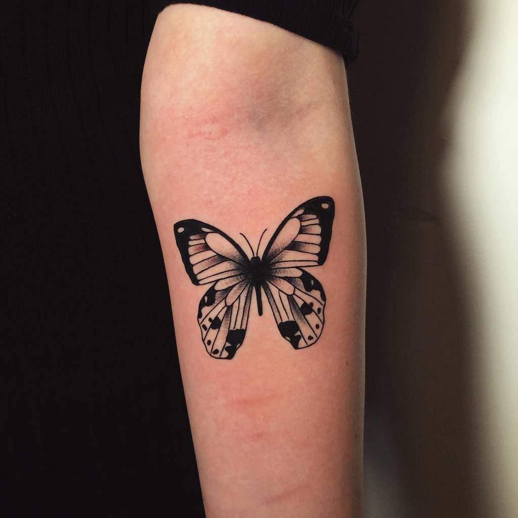 Black Butterfly Forearm Tattoo djeronalaneztattoos