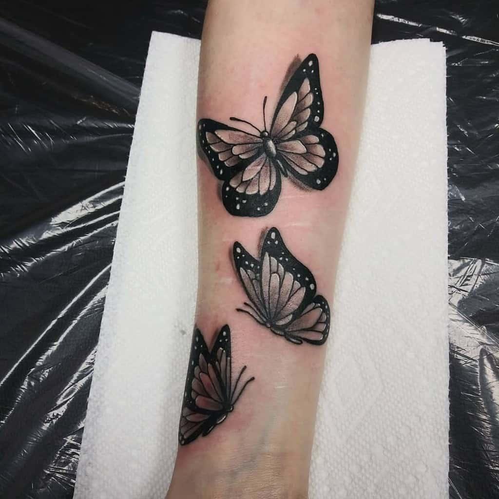 Black Butterfly Forearm Tattoo moinkart