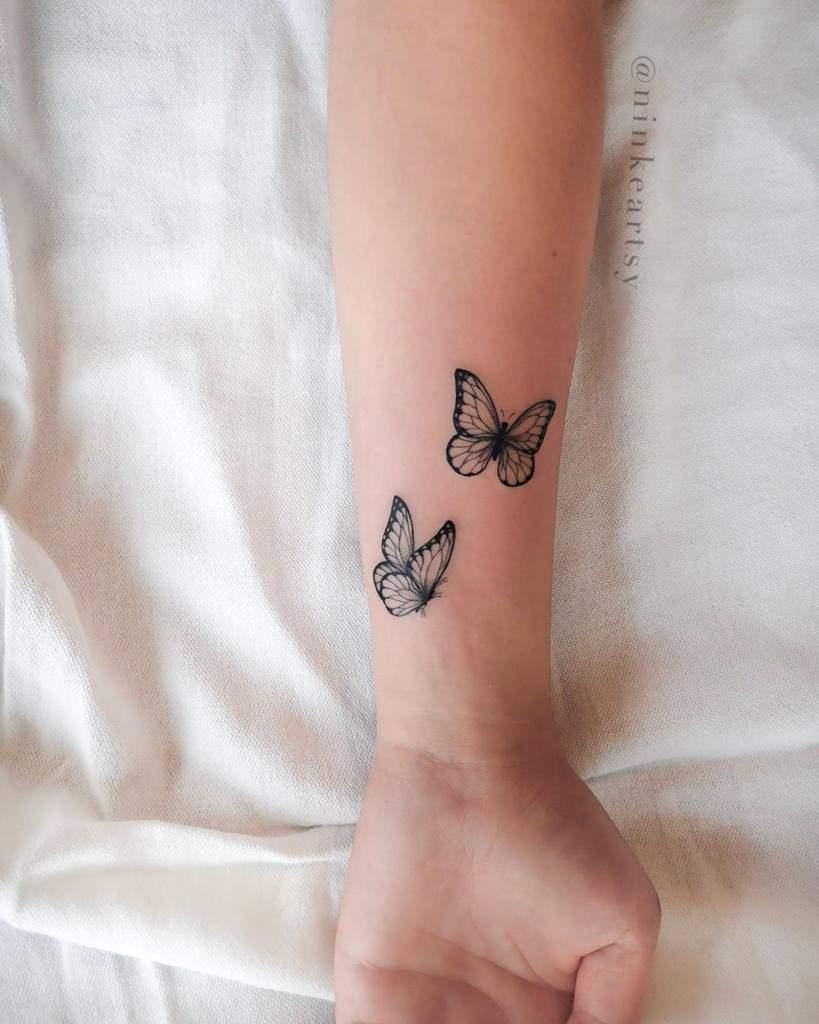 Black Butterfly Wrist Tattoo ninkeartsy