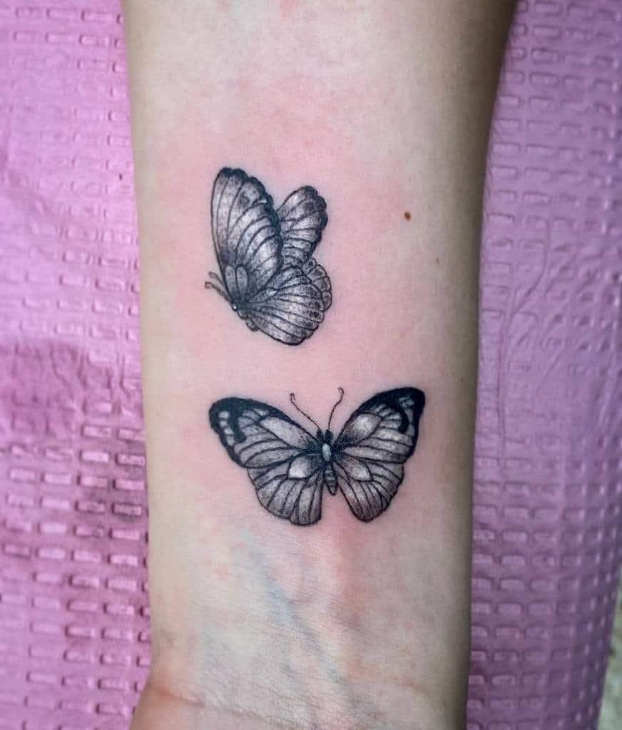 Black Butterfly Wrist Tattoo noluckjedi