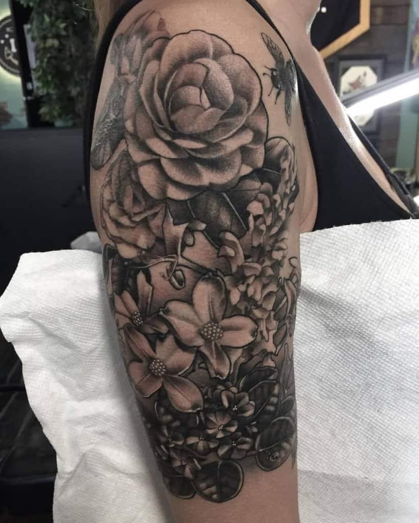 Black Dogwood Flower Tattoo smash.cordova