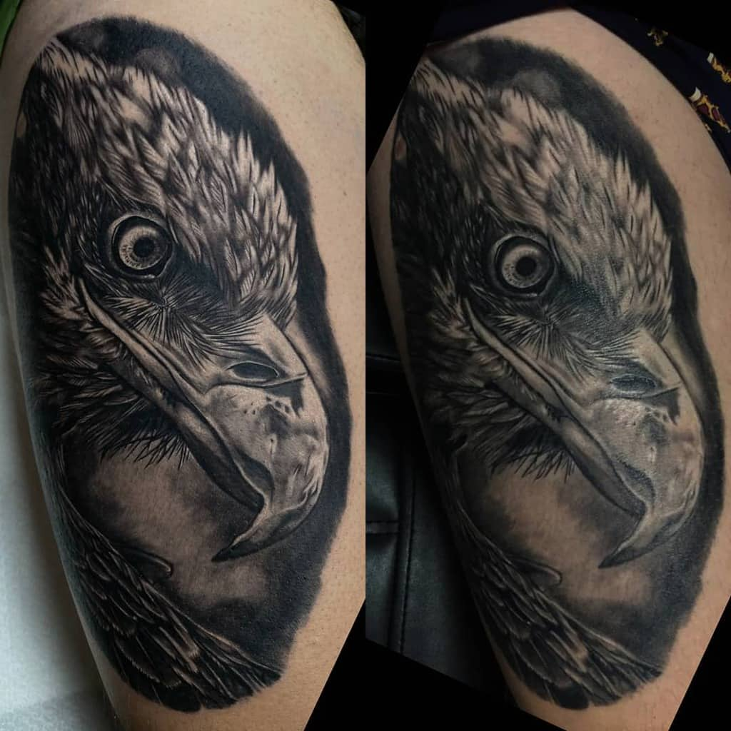 Black Eagle Head Tattoo mrk.tattoo