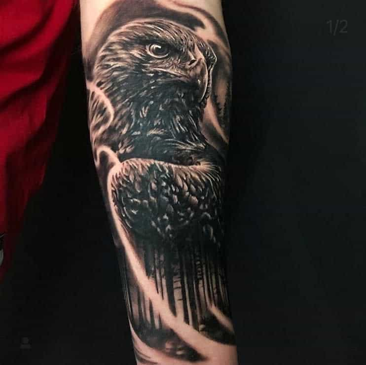 Black Eagle Head Tattoo thegallerytattooart